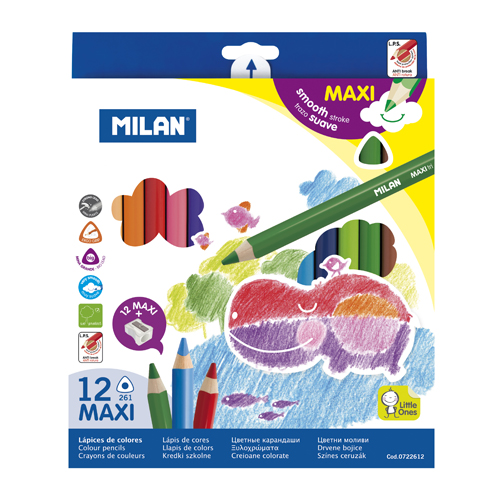 MILAN - Pastelky Maxi trojhranné 12 ks + orezávatko