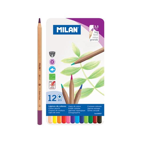 MILAN - Pastelky šesťhranné 3,3mm / 12ks metal box