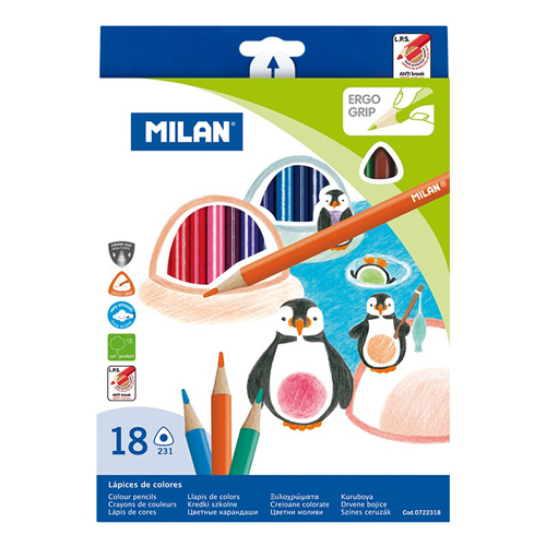 MILAN - Pastelky trojhranné 18 ks