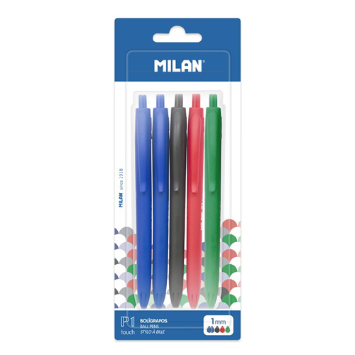 MILAN - Pero guľôčkové P1 Touch 1,0 mm - sada 5 ks