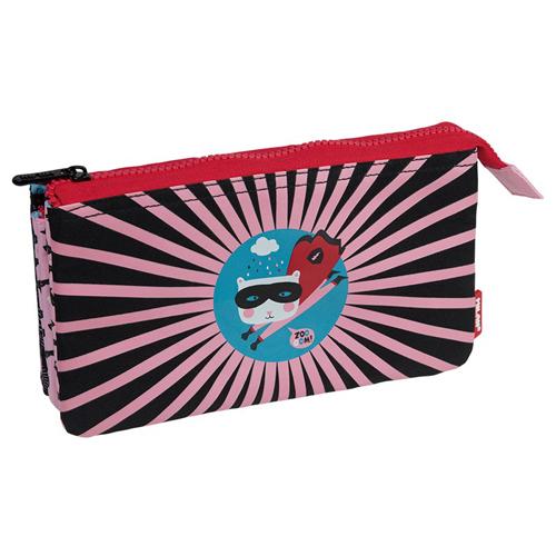 MILAN - Puzdro na ceruzky MILAN Super Heroes - 5 vreckové, ružové
