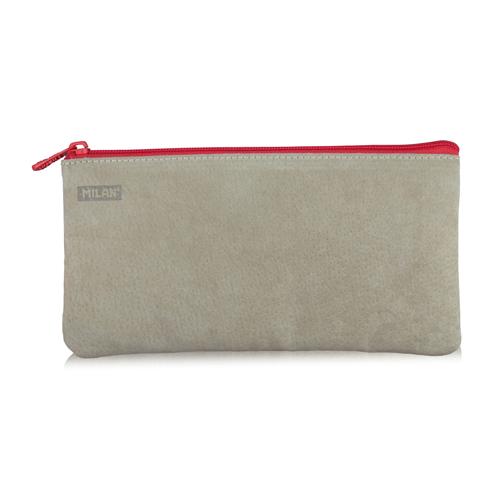 MILAN - Puzdro na perá 2-vreckové kožené, červené