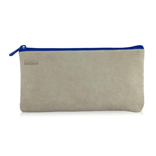 MILAN - Puzdro na perá 2-vreckové kožené, modré