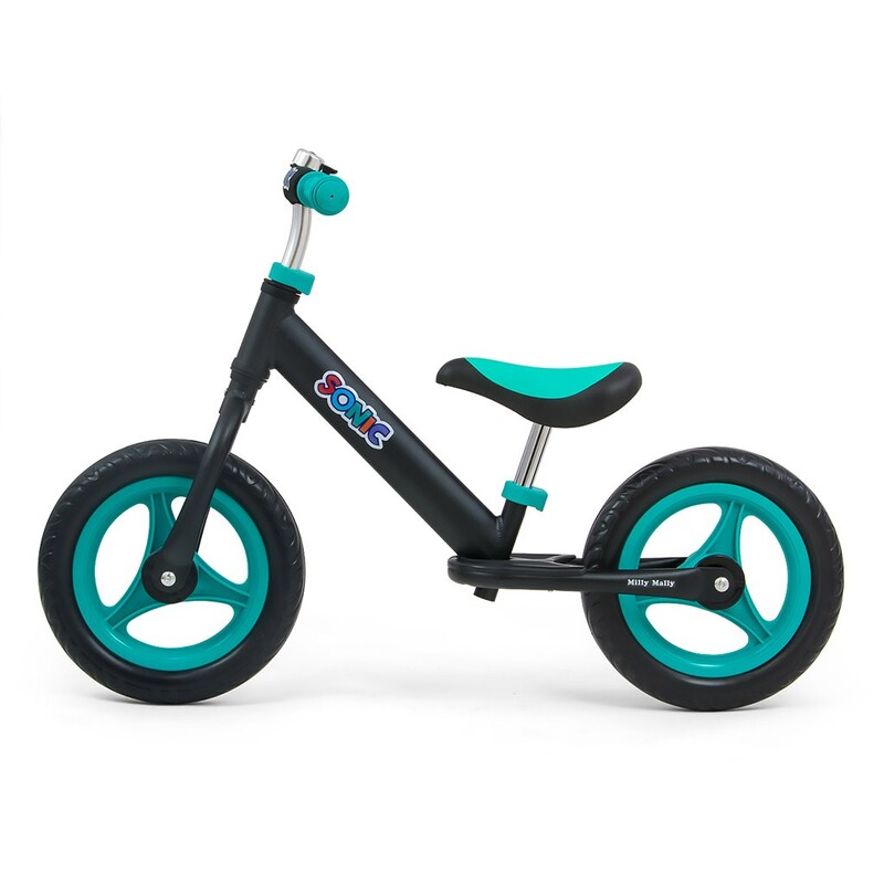 MILLY MALLY - Detské odrážadlo bicykel Sonic Black-Mint