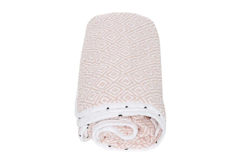 MOTHERHOOD - Deka bavlnená mušelínová dvojvrstvová Pre-Washed Pink Squares 95x110 cm