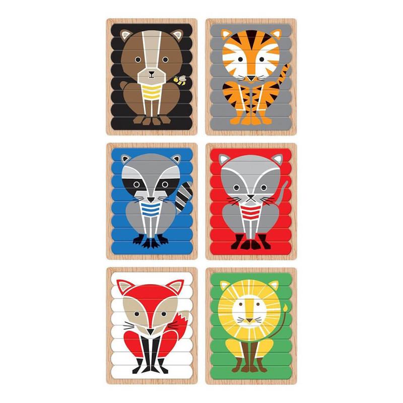 MUDPUPPY - Obojstranné puzzle Zvieratá 6x
