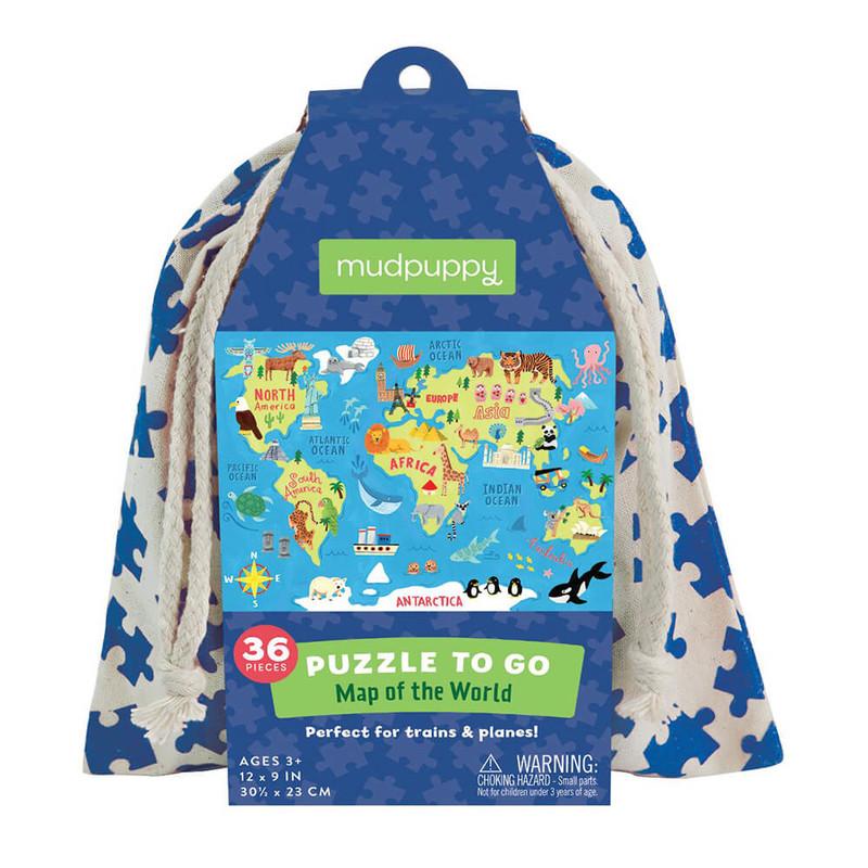 MUDPUPPY - Puzzle Mapa sveta 36ks vo vaku