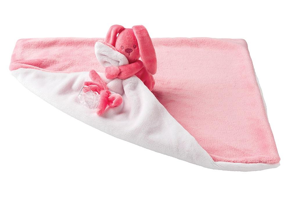NATTOU - Deka plyšová s maznáčikom LAPIDOU light pink 48cm x 48cm