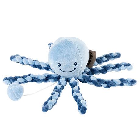 NATTOU - Prvá hračka bábätka hrajúca chobotnička PIU PIU Lapidou navy blue - light blue 0m+