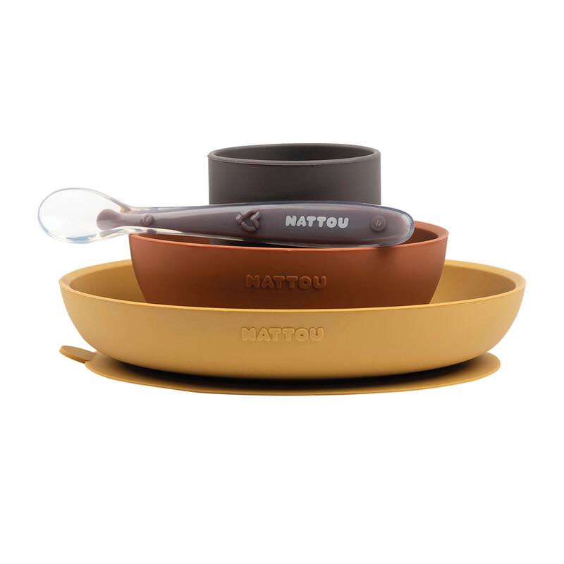 NATTOU - Set jedálenský silikonový 4 ks hnedo-terakotový bez BPA