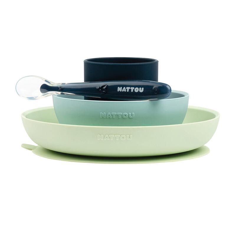 NATTOU - Set jedálenský silikonový 4 ks zeleno-modrý bez BPA