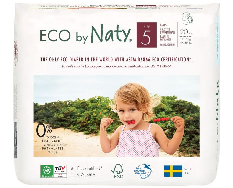 NATY NATURE BABYCARE - Nohavičky plienkové jednorázové 5 Pants 12-18kg 20ks Naty Nature Babycare