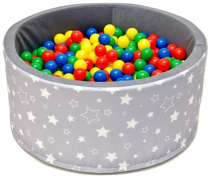 NELLYS - Bazén pre deti 90x40 cm kruhový tvar + 200 balónikov - sivý s hviezdičkami