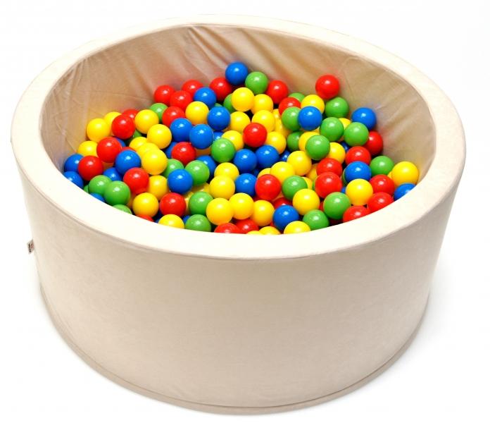 NELLYS - Bazén pre deti 90x40cm kruhový tvar + 200 balónikov - béžový, Ce19