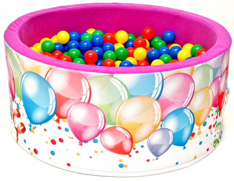 NELLYS - Bazén pre deti 90x40cm kruhový tvar + 200 balónikov - růžový s balónky, Ce19