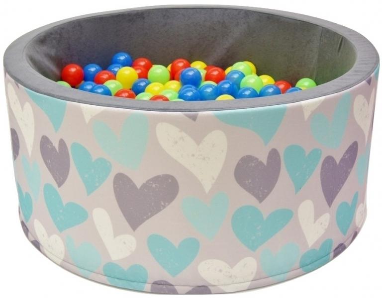 NELLYS - Bazén pre deti 90x40cm kruhový tvar + 200 balónikov - srdiečka, Ce19