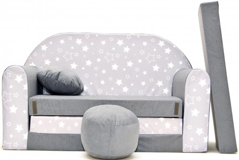 NELLYS - Rozkladacia detská pohovka ® 83R - Magic stars - bílošedé hvězdičky