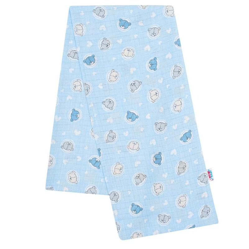 NEW BABY - Bavlnená plienka s potlačou modrá malé medvedíky