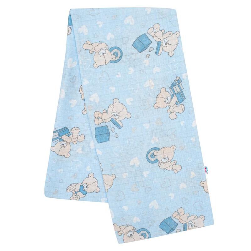 NEW BABY - Bavlnená plienka s potlačou modrá medvedík a srdiečko