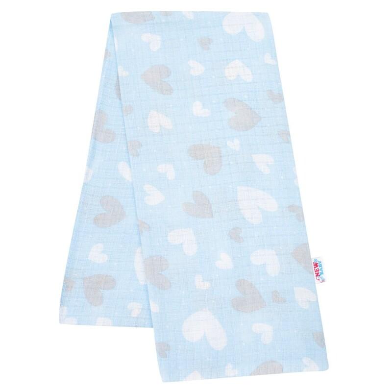 NEW BABY - Bavlnená plienka s potlačou modrá srdiečka
