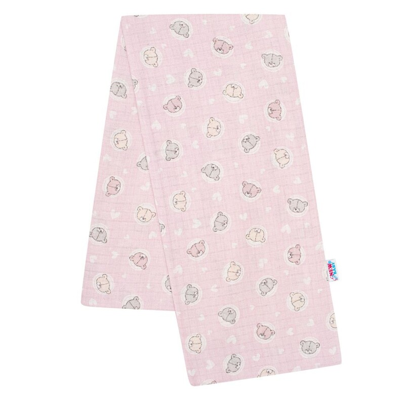 NEW BABY - Bavlnená plienka s potlačou ružová malé medvedíky