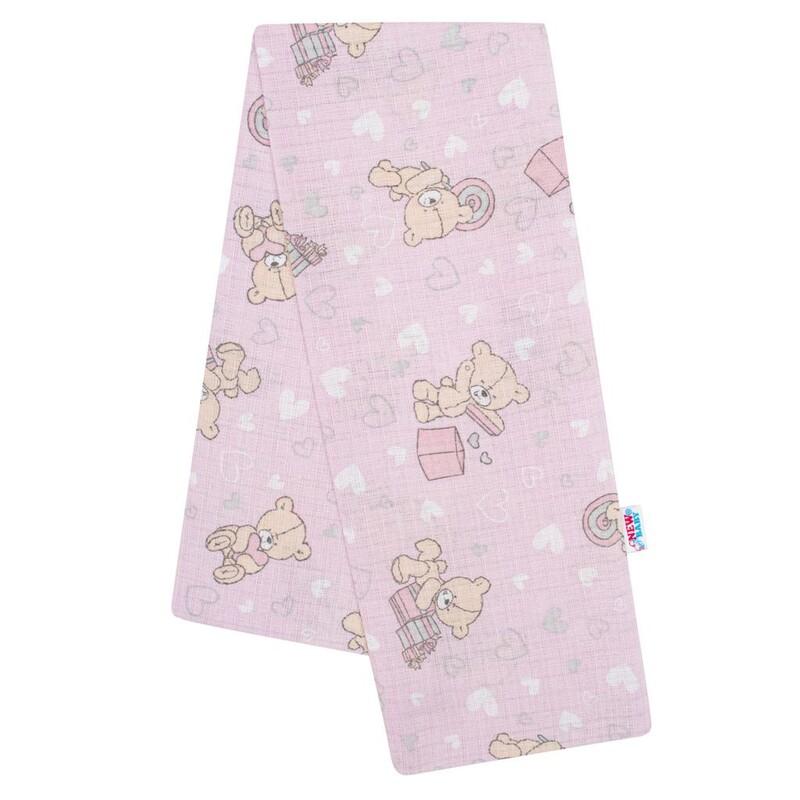 NEW BABY - Bavlnená plienka s potlačou ružová medvedík a srdiečko