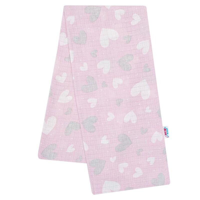 NEW BABY - Bavlnená plienka s potlačou ružová srdiečka