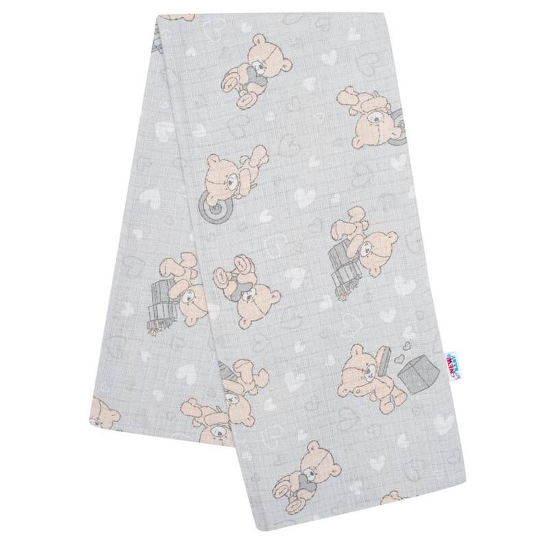 NEW BABY - Bavlnená plienka s potlačou sivá medvedík a srdiečko