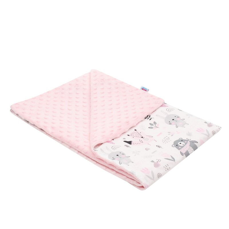 NEW BABY - Detská deka z Minky Medvedíkovia ružová 80x102 cm