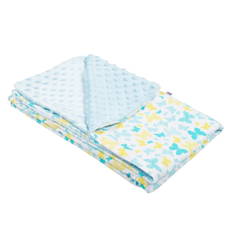 NEW BABY - Detská deka z Minky modrá 80x102 cm