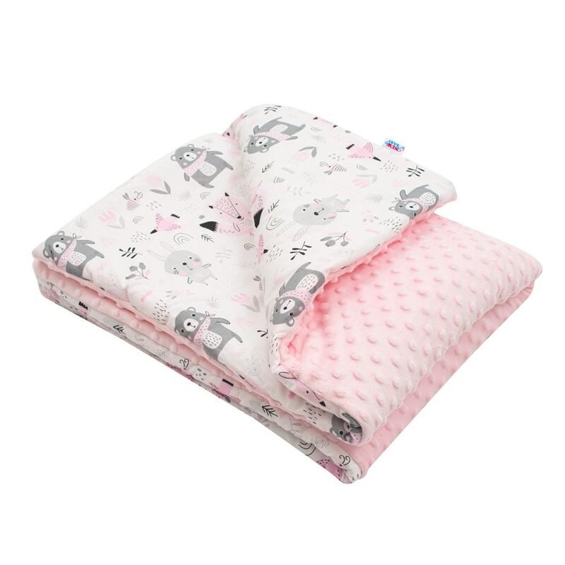 NEW BABY - Detská deka z Minky s výplňou Medvedíkovia ružová 80x102 cm