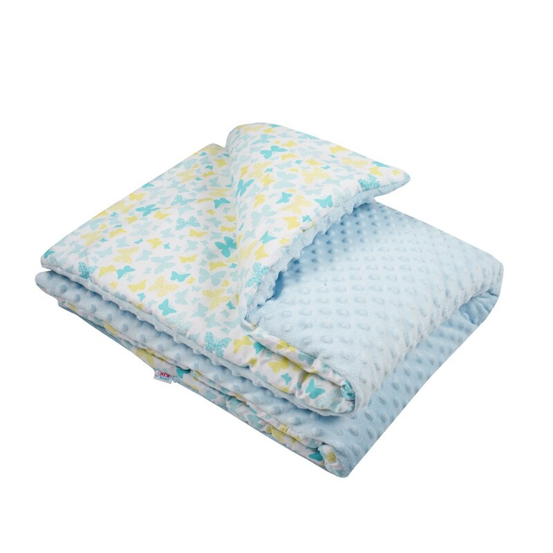 NEW BABY - Detská deka z Minky s výplňou modrá 80x102 cm