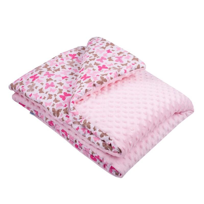NEW BABY - Detská deka z Minky s výplňou ružová 80x102 cm