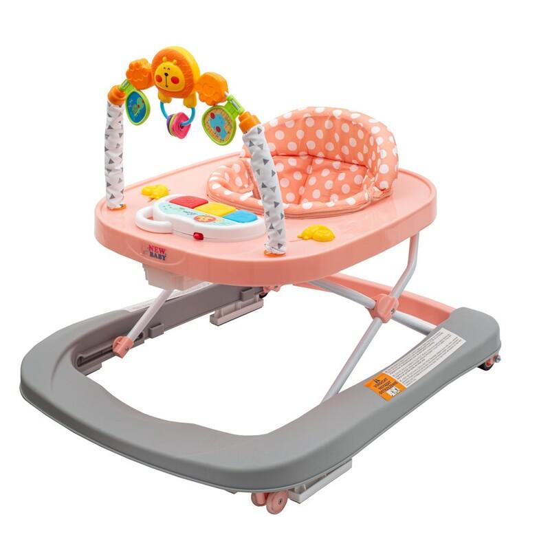 NEW BABY - Detské chodítko so silikónovými kolieskami Forest Kingdom Pink