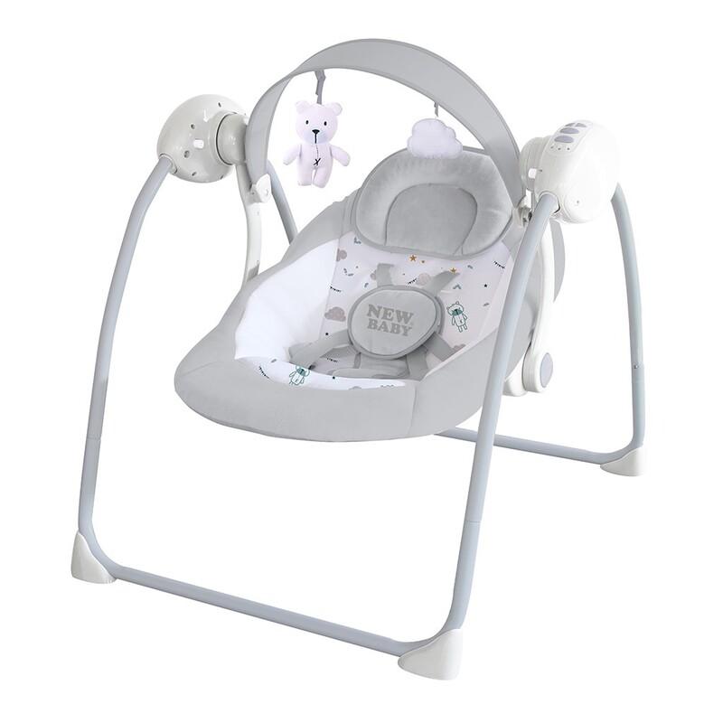 NEW BABY - Detské hojdacie lehátko TEDDY Gray