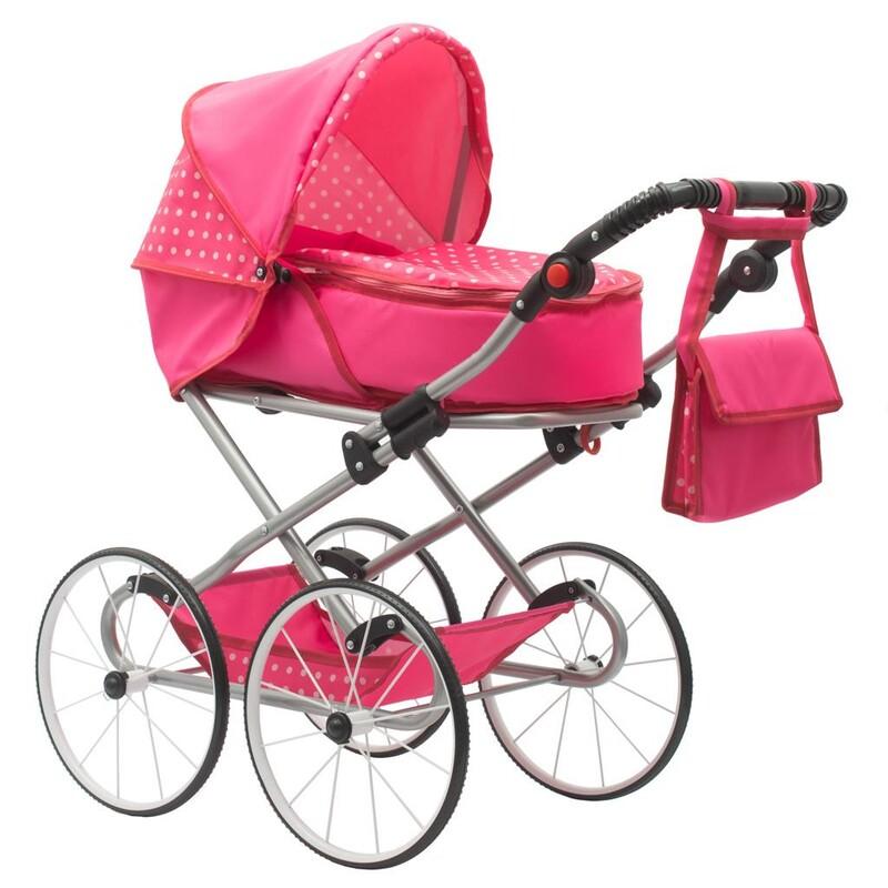 NEW BABY - Detský Retro kočík pre bábiky 2v1 Anetka rúžový s bodkami