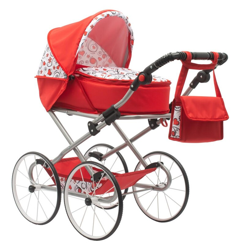 NEW BABY - Detský Retro kočík pre bábiky 2v1 Anička červený so srdiečkami