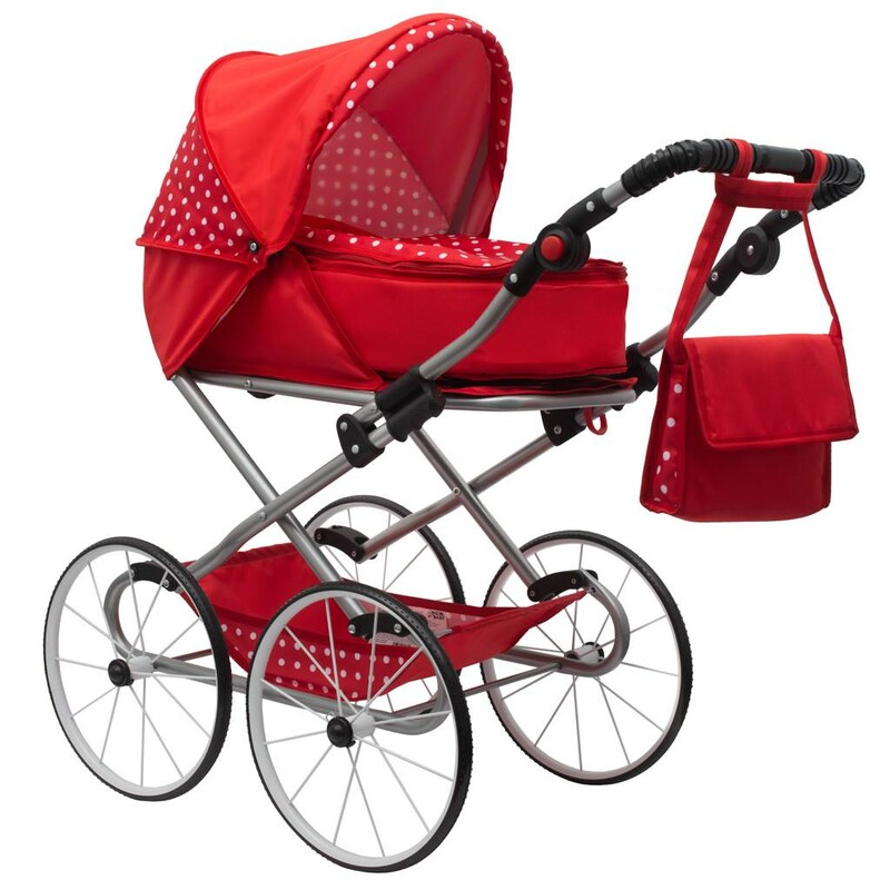 NEW BABY - Detský Retro kočík pre bábiky 2v1 Magdalena červený s bodkami