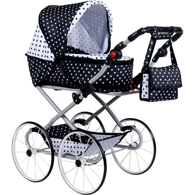 NEW BABY - Detský Retro kočík pre bábiky 2v1 Natálka bielo-čierny