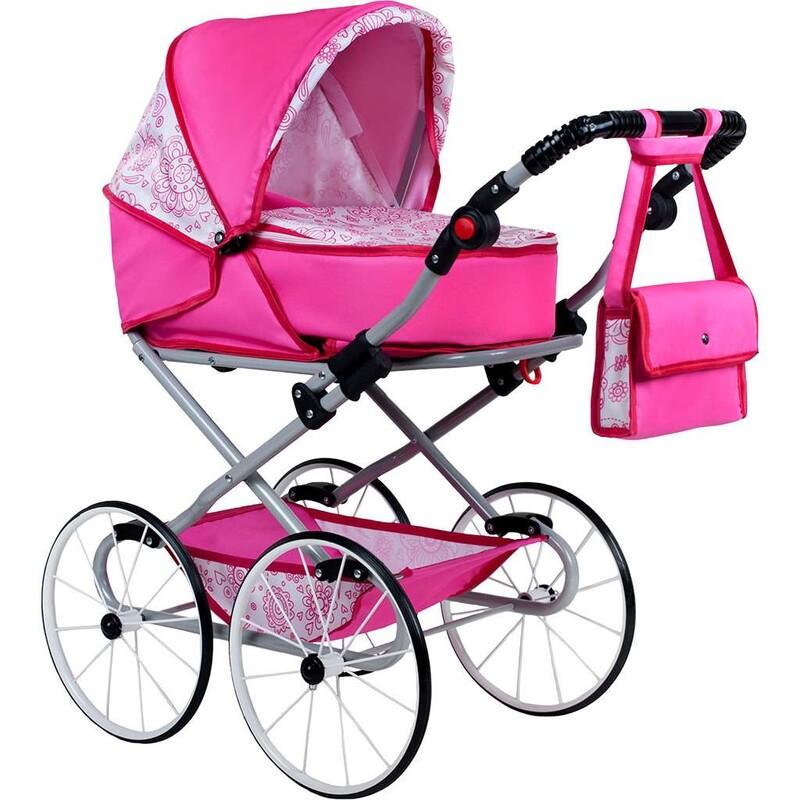 NEW BABY - Detský Retro kočík pre bábiky 2v1 Natálka ružový