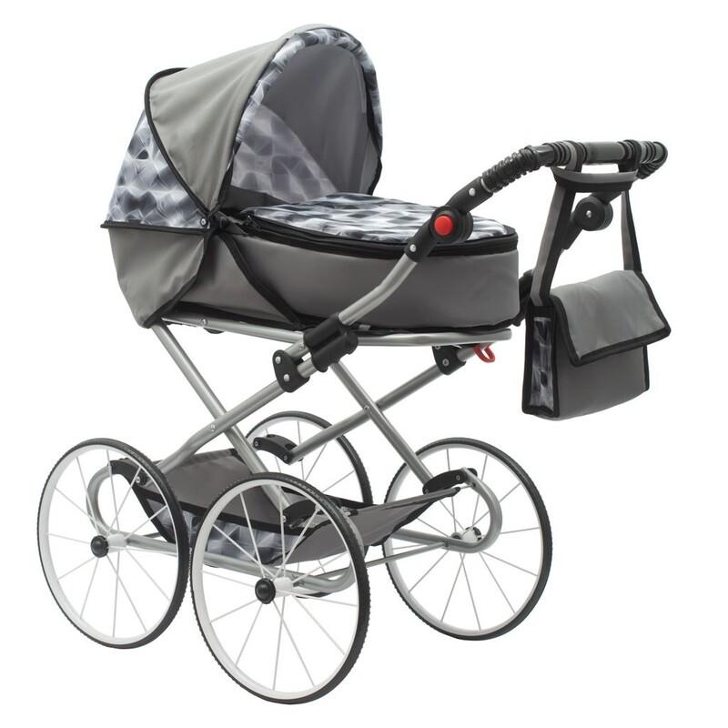 NEW BABY - Detský Retro kočík pre bábiky 2v1 Nella sivý