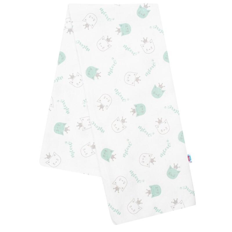 NEW BABY - Flanelová plienka s potlačou biela meow zelená