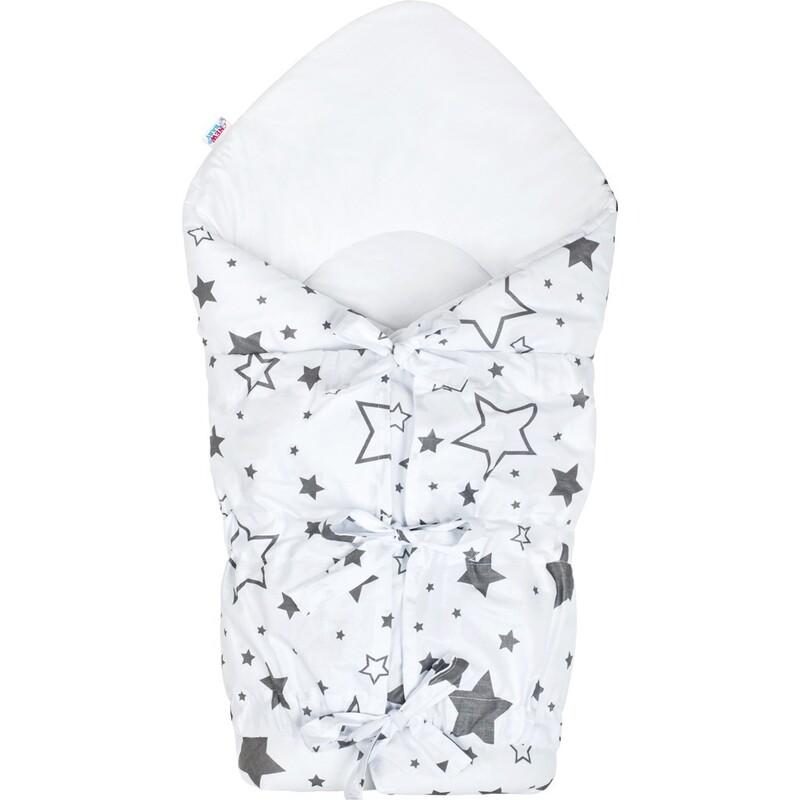 NEW BABY - Klasická šnurovacia zavinovačka biela hviezdy sivé