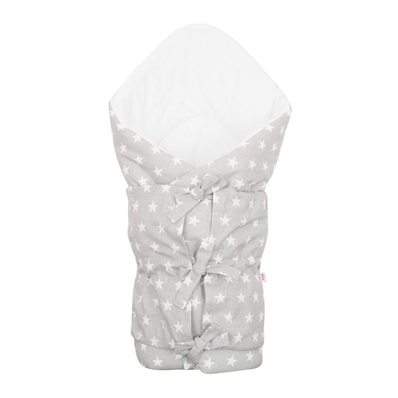 NEW BABY - Klasická šnurovacia zavinovačka Hviezdičky sivo-biela
