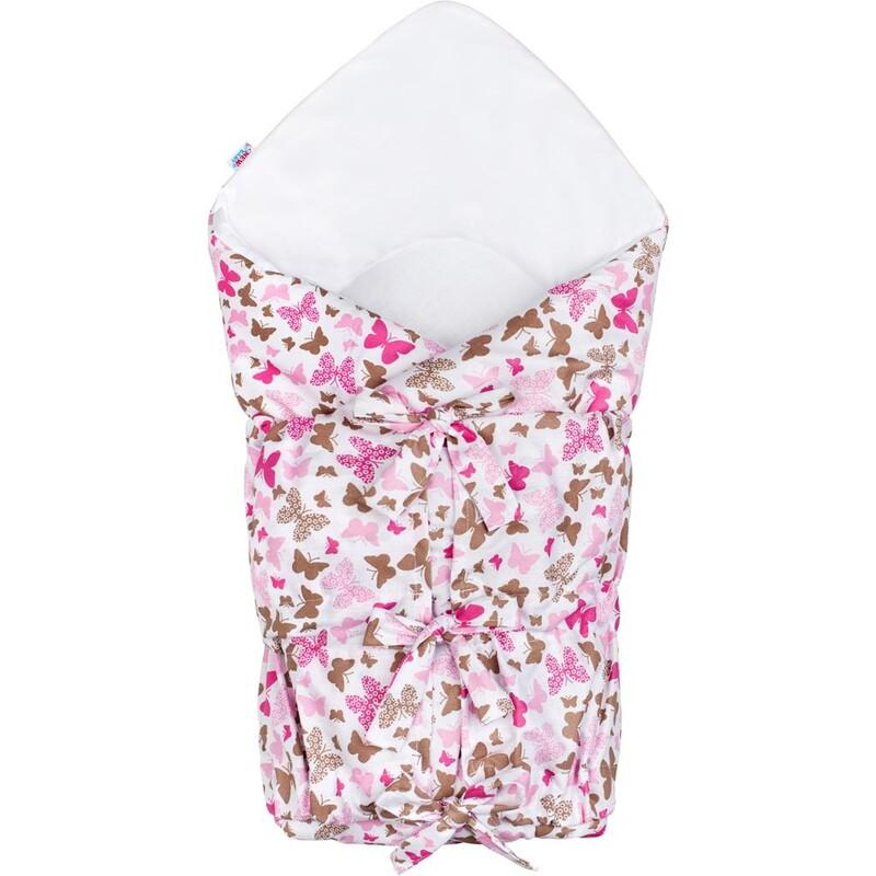 NEW BABY - Klasická šnurovacia zavinovačka ružové motýle