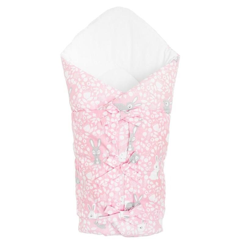 NEW BABY - Klasická šnurovacia zavinovačka zajačiky rúžová