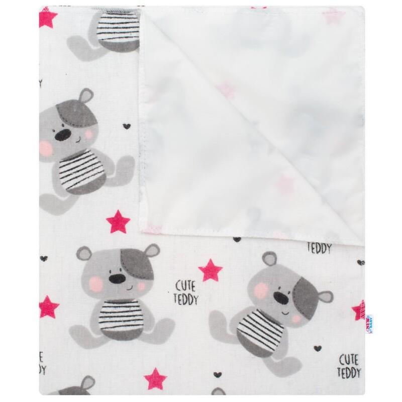 NEW BABY - Nepremokavá flanelová podložka Cute Teddy ružová