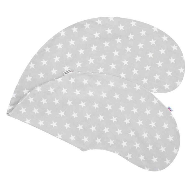 NEW BABY - Obliečka na dojčiaci vankúš Hviezdičky sivý