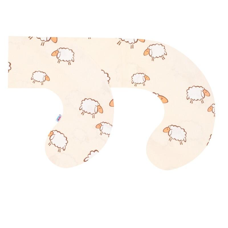 NEW BABY - Obliečka na dojčiaci vankúš v tvare C Ovečky bežová