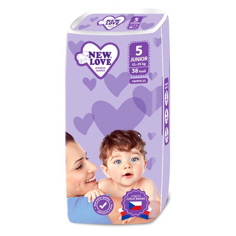 NEW LOVE - Detské jednorázové plienky Premium comfort 5 JUNIOR 11-25 kg 38 ks